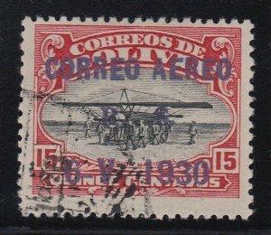 Bolivia 1924 Aviation School 15c Zeppelin Overprint Used. Scott C14