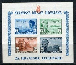 CROATIA; 1943 Croat Legion Fund fine MINT MNH Complete Imperf SHEET