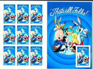 Porky Pig Sheet of Ten 34 Cent Postage Stamps Scott 3534