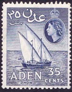 ADEN 1958 QEII 35c Deep Blue SG57 MH
