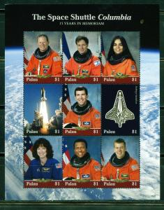 PALAU 2019 THE SPACE SHUTTLE COLUMBIA 15 YEARS IN MEMORIAM SHEET OF FOUR MINT NH