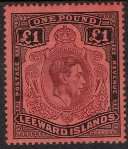 LEEWARD ISLANDS 1938 KGVI 1 POUND PERF 14 MNH **