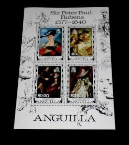 ANGUILLA #304a, 1977, SIR PETER PAUL RUBENS, SOUVENIR SHEET, MNH, NICE LQQK