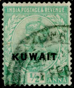 KUWAIT SG1,  ½a Emerald, USED. Cat £15.