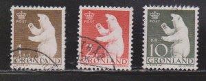 GREENLAND Scott # 62, 63, 65 Used - Polar Bears