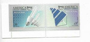 URUGUAY 2006 AMERICA UPAEP SAVING ENERGY LAMPS PANELS SOLAR ENERGY PAIR MNH