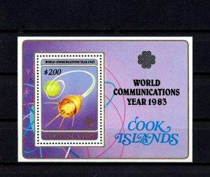 COOK IS - 1983 - WORLD COMMUNICATIONS YEAR - SATELLITE - GLOBE + MNH S/SHEET!