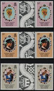 Pitcairn Islands 206-8 Gutter Pairs MNH Charles & Diana Wedding, Flowers