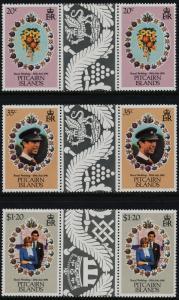 Pitcairn Islands 206-8 Gutter Pairs MNH Charles & Diana Wedding, Flowers
