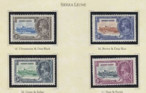 SIERRA LEONE, 1935 Silver Jubilee set of 4, heavy hinged.