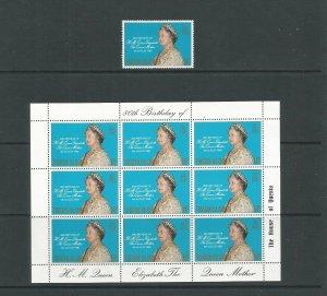 Tristan da Cunha 1980 80th Birthday Of The Queen Mother UMM Set + Sheet  SG 282