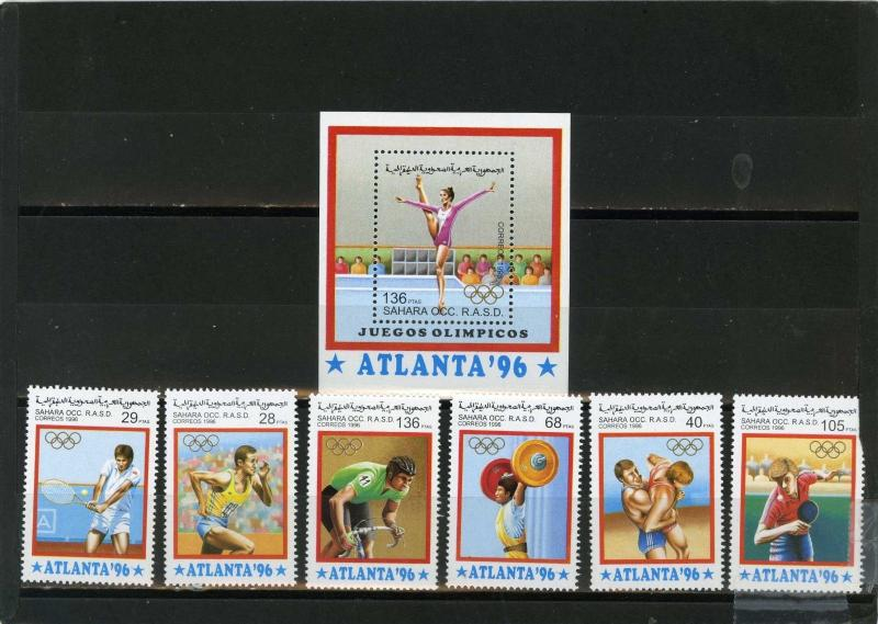 SAHARA OCC 1996 OLYMPIC GAMES ATLANTA SET OF 6 STAMPS & S/S  MNH