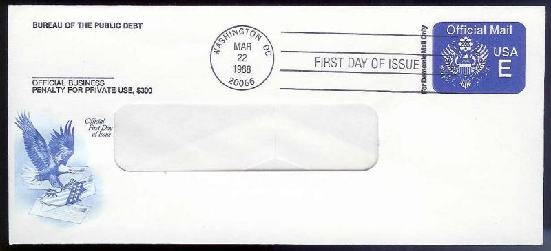 UNITED STATES FDC 25¢ (E rate) Official Mail Envelope 1988