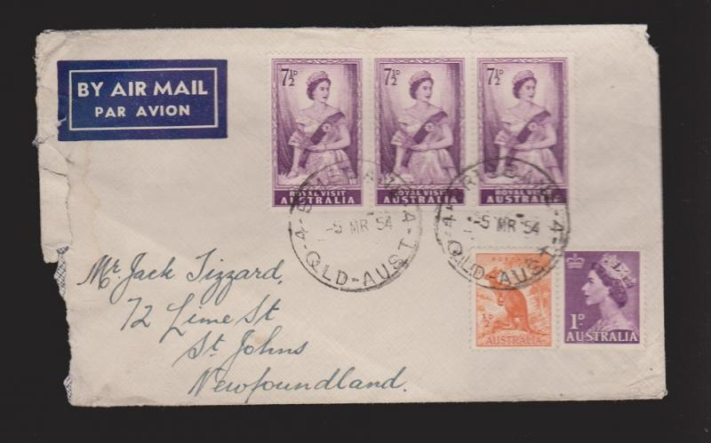 AUSTRALIA Cover From Brisbane To St. Johns With 3 Royal Visit Stamps + 2 More