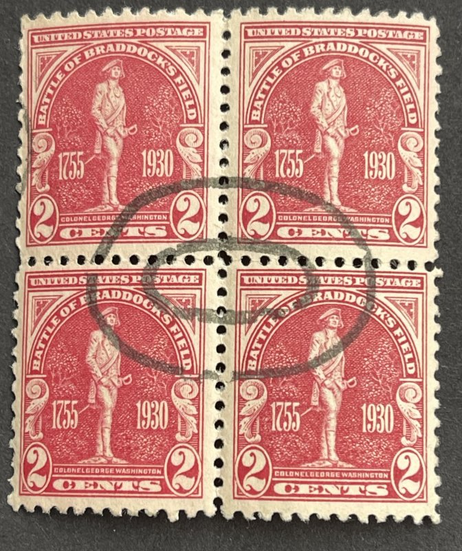 2c Braddock's Field Issue Scott # 688  MNH OG Favor Cancel 1930