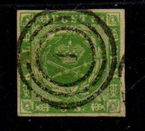 Denmark Sc 5 1857 8s green  Royal Emblems stamp used #1 cancel