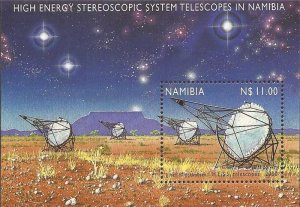 Namibia - 2000 Stereoscopic System Telescopes - Stamp Souvenir Sheet #972
