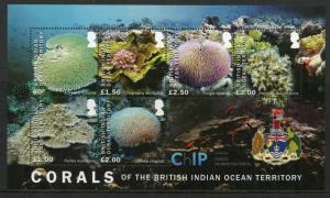 BIOT Br Indian Ocean Territory 2017 MNH Corals Chagos 6v M/S Marine Stamps