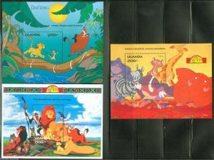 UGANDA DISNEY SCOTT#1269/71 LION KING  SET OF SOUVENIR SHEETS MINT NH