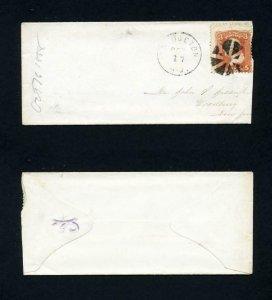 FREE SHIPPING - # 94 on cover from Bridgeton, NJ to Woodbury, NY - 10-17-1868