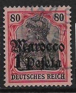 GERMAN P.O.'s IN MOROCCO SG47 1911 1p ON 80pf BLACK & CARMINE ON ROSE USED