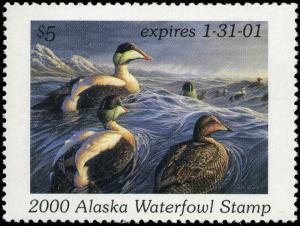ALASKA #16 2000 STATE DUCK COMMON EIDERS  by  Adam Grimm