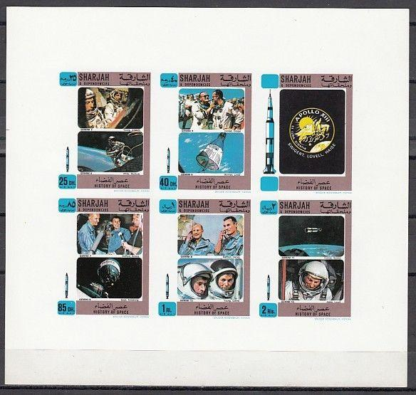 Sharjah, Mi cat. 691-695 B. History of Space, #2 IMPERF sheet.