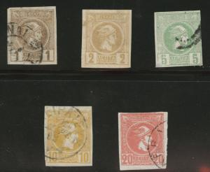 Greece Scott 90-94 used 1889 Hermes Heads CV$19.50 short set