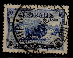 Australia Sc  148 1934 3d dark blue sheep stamp used
