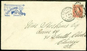 EDW1949SELL : CANADA Nice Small Queen on 1890 cover to USA.