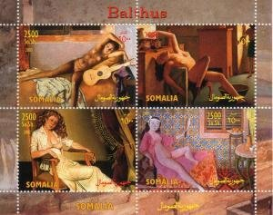 Somalia 2003 BALTHUS Nudes Paintings Sheet (4) Perforated Mint (NH)