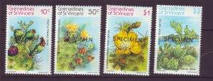 J24524 JLstamps 1982 st vincent specimen set mnh #239-42 cactus