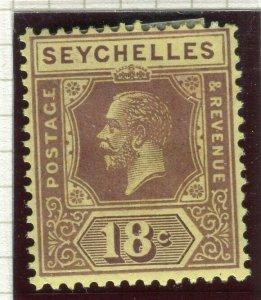 SEYCHELLES; 1922 early GV issue fine Mint hinged Shade of 18c. value