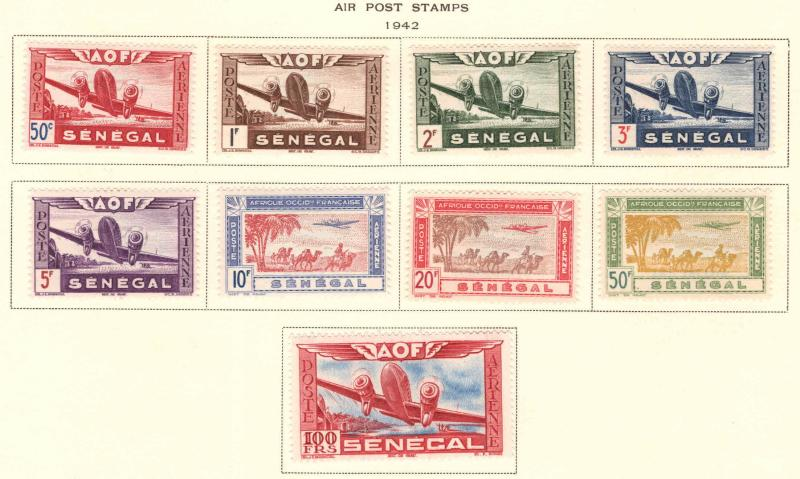 Senegal Scott C17-C25 airmail stamp set