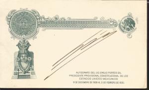 J) 1930 MEXICO, POSTAL STATIONARY, EAGLE, AZTEC CALENDAR, AUTOGRAPH FROM THE LIC