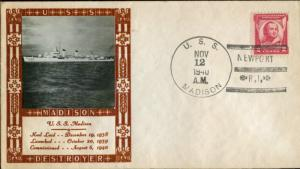 #690 ON U.S.S. MADISON CACHET BY LOUIS WEIGAND BN2904