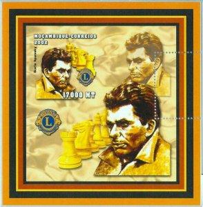 A1135 - MOZAMBIQUE, ERROR, IMPERF, Souvenir s: 2002, Boris Spassky, Chess, Lions