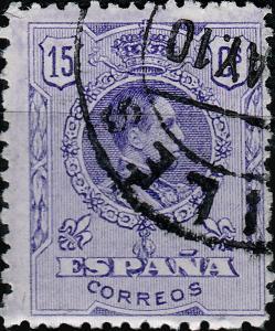 SPAIN 1909 Mi.234A / Ed.270 15c bright violet (letter D) tipo medallón VFUsed