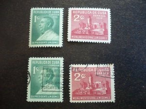 Stamps - Cuba - Scott# 322-323, Mint Hinged & Used Sets of 2 Stamps