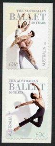 Australia SG3880a 2012 50th Ann Australian Ballet Self Adhesive Pair U/M