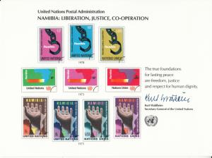 UN - Namibia, #3, Mint Sheet, Liberation, Justice & Co-operation