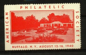 USA 1940 American philatelic Society Buffalo NY Exhibition Label
