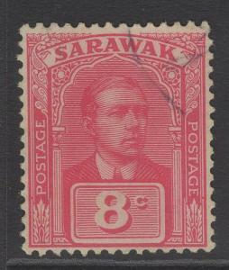 SARAWAK SG68 1922 8c BRIGHT ROSE-RED FINE USED