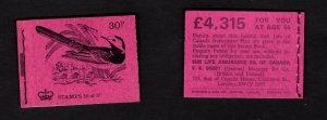 GB #DQ62 February 1972 30p  Machin booklet - Gibbons CV £3.75