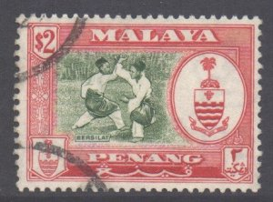 Malaya Penang Scott 65 - SG64, 1960 Elizabeth II $2 used