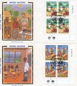 UN NY FDC #517-518 Inscription Blocks, Colorano (2396)