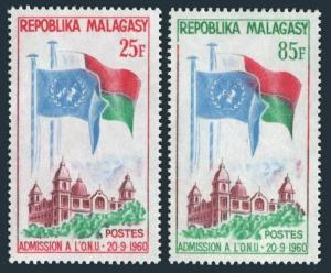 Malagasy 326-327,MNH.Mi 475-476. Admission to UN,1962.Flags.Government Building.