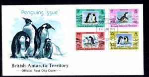 British Antarctic Territory 72-75 Penguins U/A FDC