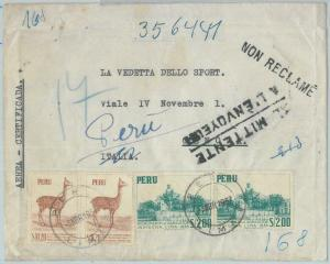 81695 - PERU - POSTAL HISTORY - Registered AIRMAIL  COVER to ITALY  1957