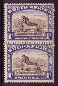 South Africa Wildebeest Wild Animals 2v Bi-lingual pair D1 SG#36 CV£30+